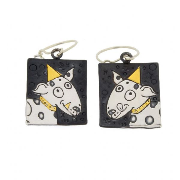 Dog earrings jack russell terrier silver and gold handmade